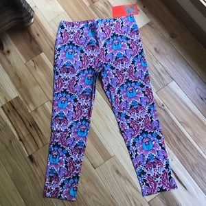 Tracy Negoshian Pants - Watercolor cropped pants with floral print